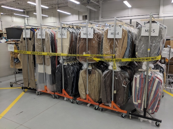 The Carhartt garment collection ready for transport to new archival space in 2019