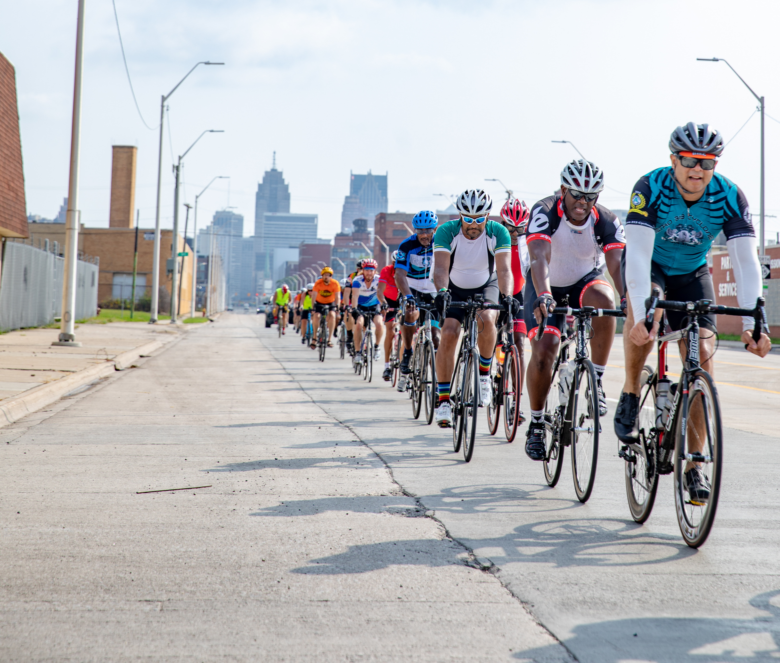 Cyclists ride through Detroit