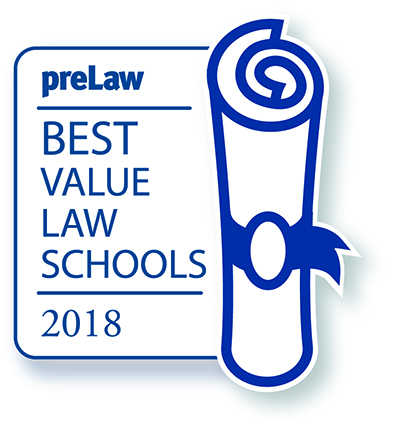 Image that says preLaw Best Value Law Schools 2018