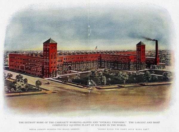 Artist rendering of Carhartt's Detroit factory, circa 1925