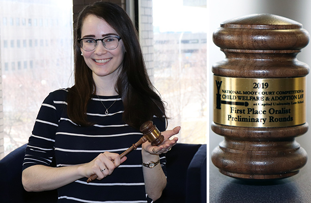 Photo of law student Emma Trivax with a gavel she won and an up close photo of the gavel