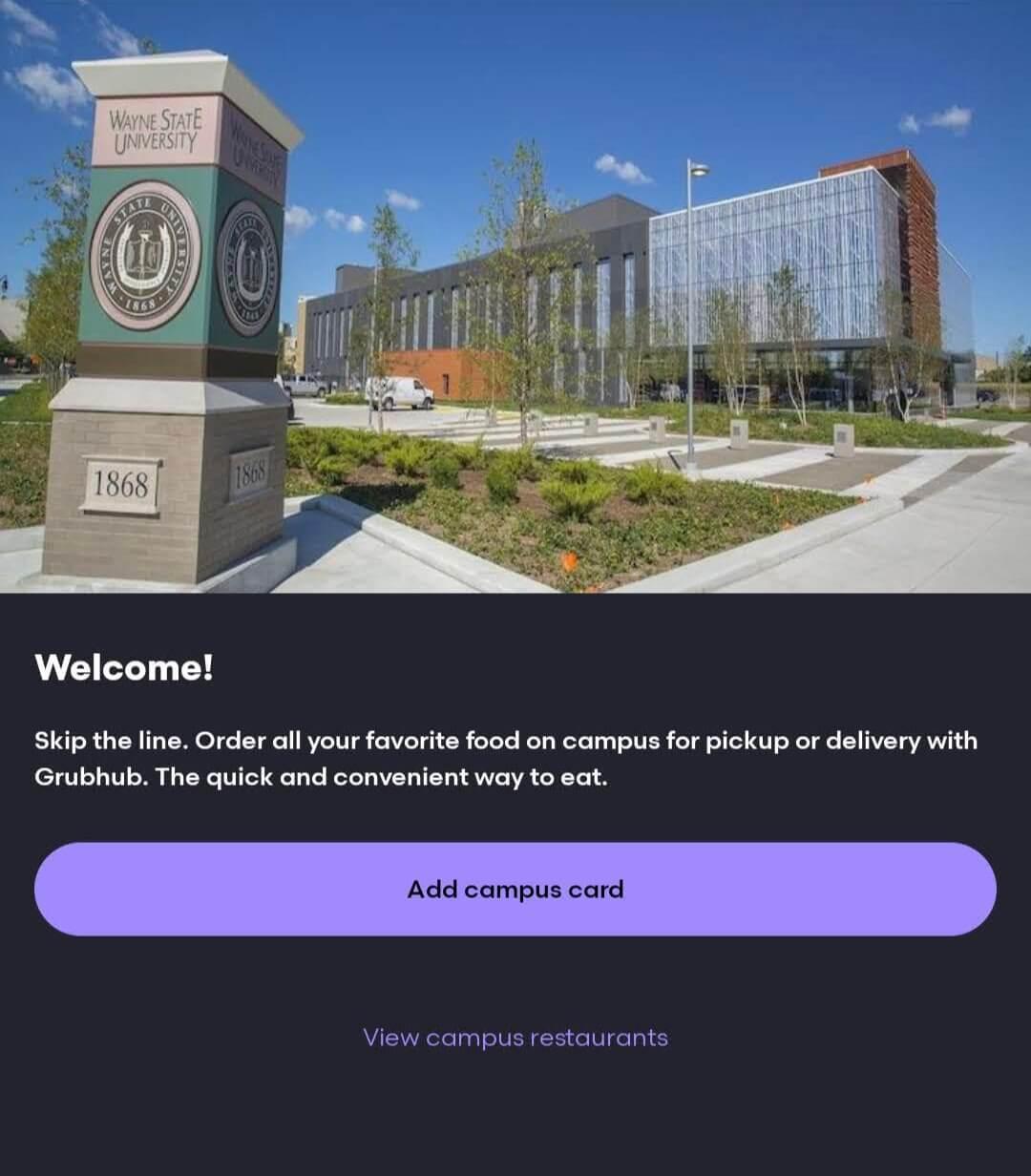 Grubhub setting to add campus