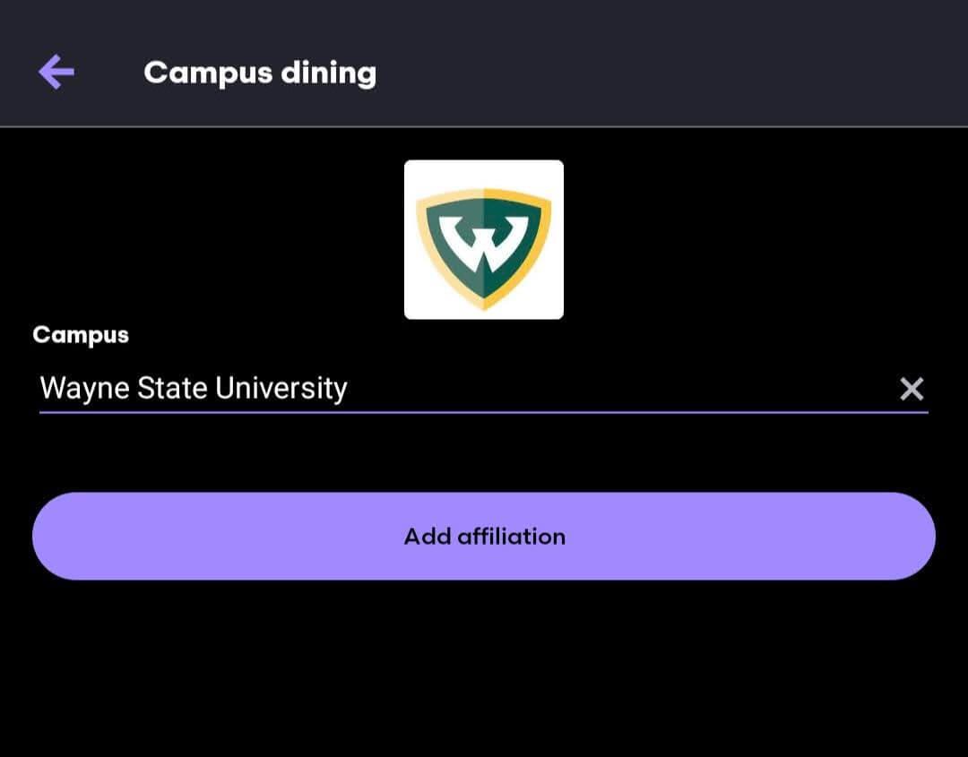 Grubhub find Wayne State University option