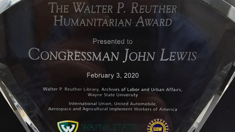 The Walter P. Reuther Humanitarian Award that was presented to Congressman John Lewis for his civil rights activism