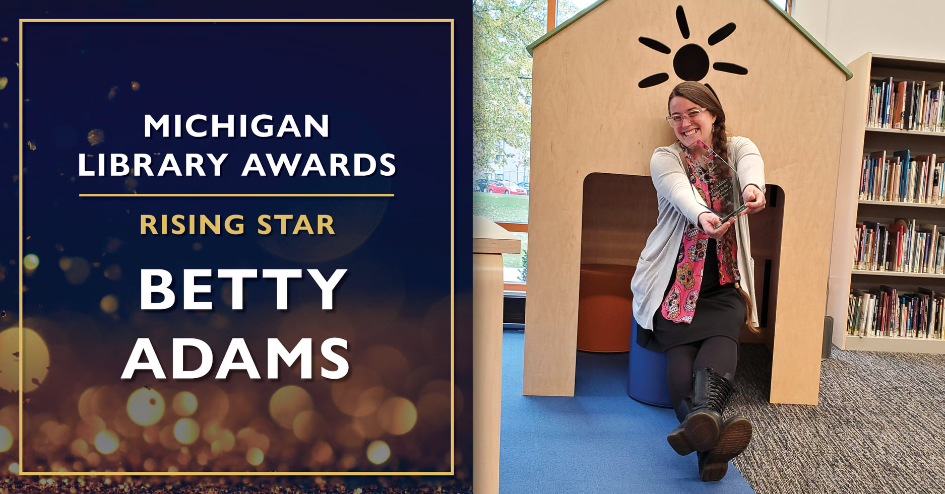 SIS student Betty Adams receives the Rising Star Award from the Michigan Library Association