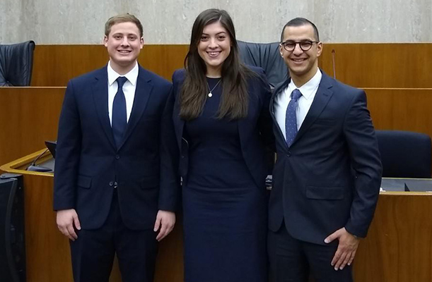 Photo of Moot Court team at competition. Pictured students: Matt Cassar, Hayley Johnson and Ahmad Sabbagh