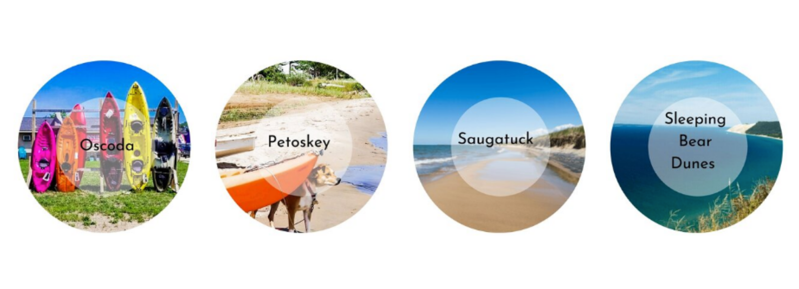 Decorative images of Michigan beaches, each displayed in a colorful circle with the name of a beach town in the center of the circle.