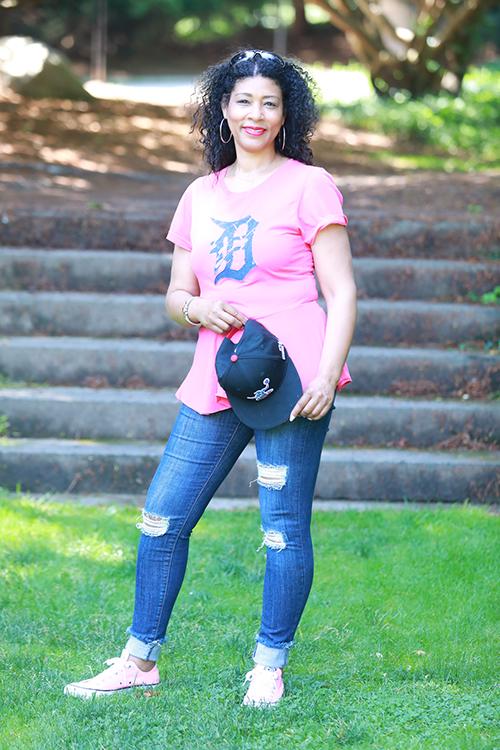 Nikki Wright wearing pink Detroit Old English D t-shirt