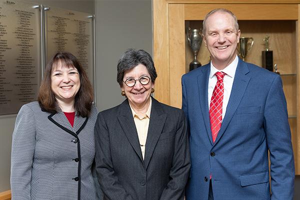 Judges Anica Letica, Elizabeth Gleicher and Michael F. Gadola gather after the oral arguments.
