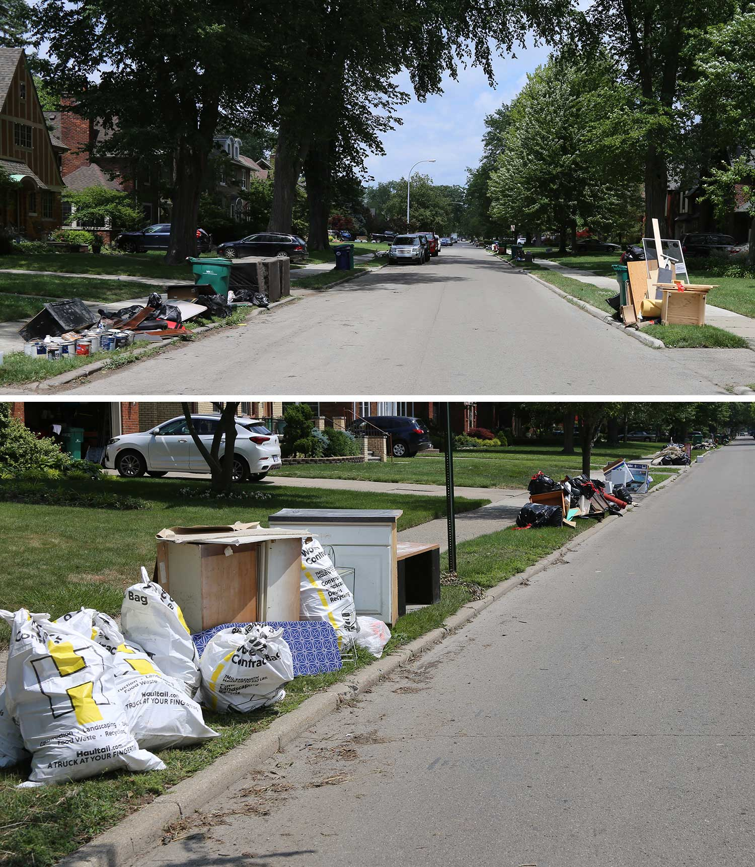 One outcome of the flooding is residents disposing of their belongings that were ruined when basements flooded.