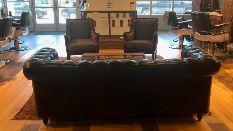 Couch in barber shop