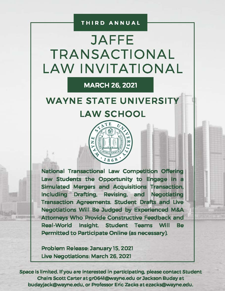 Jaffe Transactional Law Competition flyer
