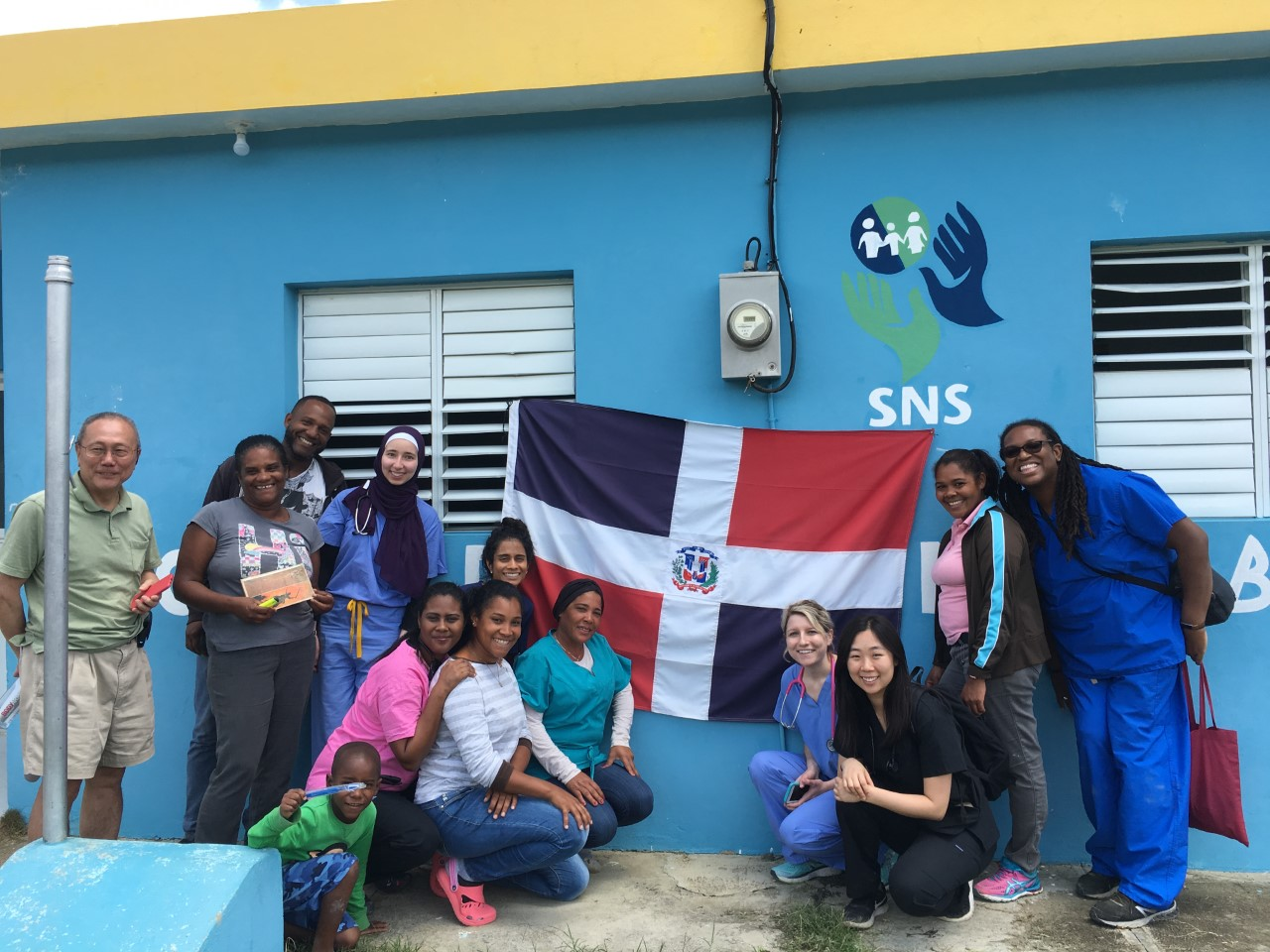 Medical students in Dominican Republic outside of clinic